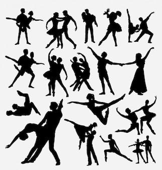 Ballerinatanz-wettbewerbsschattenbild für symbol, logo, netzikone, maskottchen