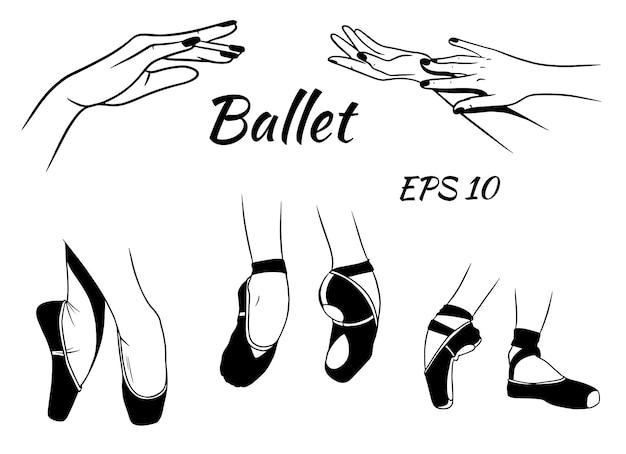Ballett. spitzenschuhe an den beinen. anmutige handgesten. ballerina. Premium Vektoren