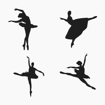 Ballett-tänzer-silhouette-vektor-illustration-sammlung