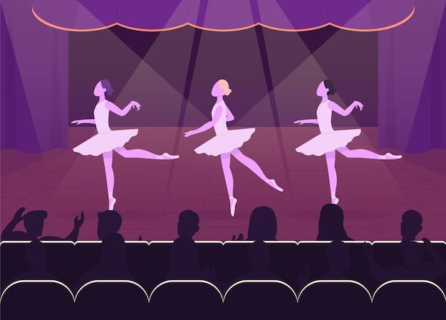 Ballettaufführung flach. schöne abendveranstaltung. wunderschöne ballerien tanzen vor der menge 2d-zeichentrickfiguren mit schön dekorierter bühne Premium Vektoren