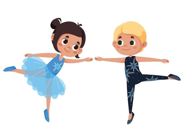 Ballettjunge und -mädchenvektorkarikaturillustration kinder in schönen outfits tanzen