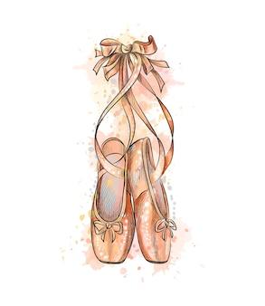 Ballettschuhe, spitzenschuhe aus einem spritzer aquarell, handgezeichnete skizze. illustration von farben