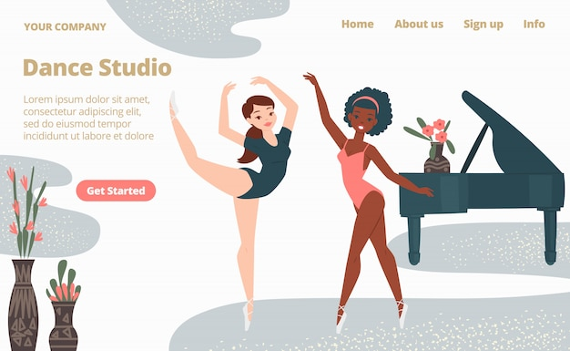 Ballettschule tanzstudio landung webseite, konzept banner website vorlage cartoon illustration. website-seitenbanner.