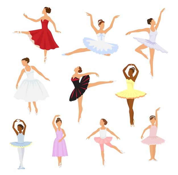Balletttänzervektorballerina-frauencharaktertanzen im ballettrock-ballettröckchenillustrationssatz des klassischen balletttänzermädchens lokalisiert.