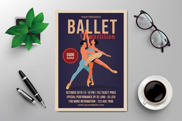 Ballettwettbewerb flyer vorlage