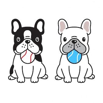 Ballkarikatur der französischen bulldogge des hundetatzenvogels