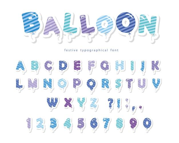 Ballon abgestreifte blaue gussalphabetypographie mit buchstaben und zahlen