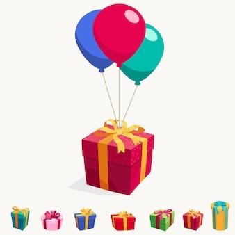 Ballon mit geschenkboxillustration des fliegenden glänzenden überraschungspakets