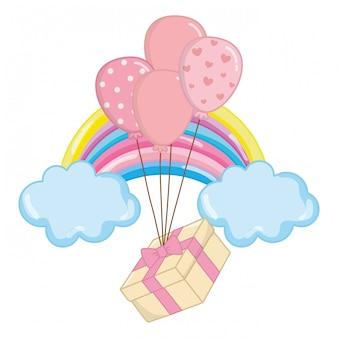Ballon mit geschenkboxillustration