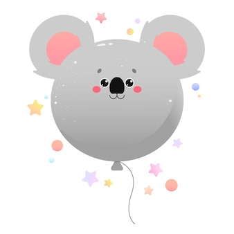 Ballon niedlichen kawaii koala. tier isoliert