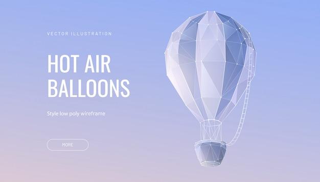 Ballon polygonal. konzept von fliegen, reisen oder abenteuer