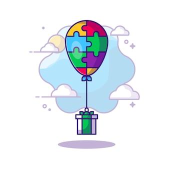 Ballon und geschenkbox autism day cartoon. autismus-tageskonzept. flacher cartoon-stil.