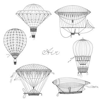Ballon und luftschiff-doodle-set