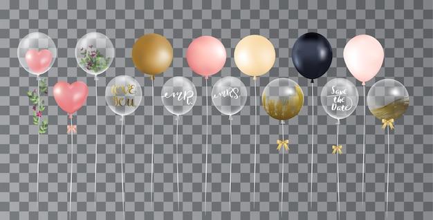 Ballone auf transparentem hintergrund