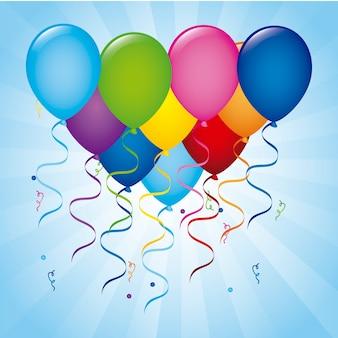 Ballone geburtstag über blauem hintergrund vektor-illustration