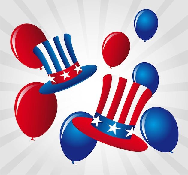 Ballone und hut der unabhängigkeitstagvektorillustration