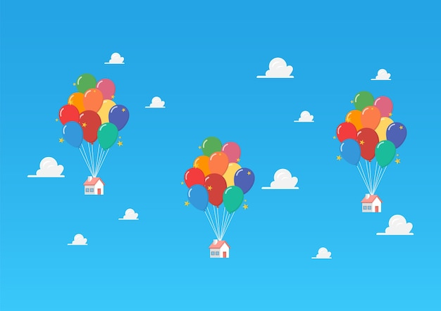 Ballonhäuser auf blauem himmel