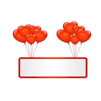 Ballonherzen mit leerer fahne