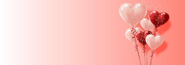 Ballonherzen vektorfeiertagsillustration des fliegenden bündels roter ballonherzen und konfetti