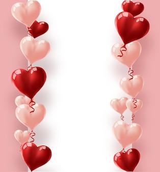 Ballonherzen vektorfeiertagsillustration von fliegenden roten und rosa ballonherzen und papierfahne