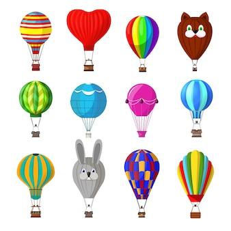 Ballonkarikatur-luftballon oder aerostat mit korbfliegen im himmel und ballonabenteuer-flugillustrationssatz des ballonreisenden fliegenden spielzeugs lokalisiert auf weißem hintergrund