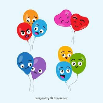 Ballons bund sammlung mit lustigen gesichtern