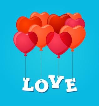 Ballons feiern alles gute zum geburtstag und valentinstag-grußkarte, einladung