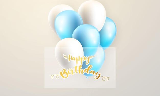 Ballons konzept geburtstag design vorlage urlaubsförderung, hintergrund feier vektor-illustration.