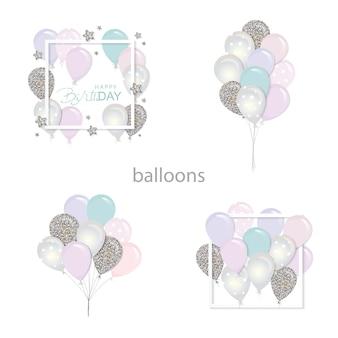 Ballons mit glitzer gesetzt.