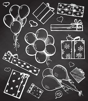 Ballons und geschenke an der tafel. vektorillustration im skizzenstil.