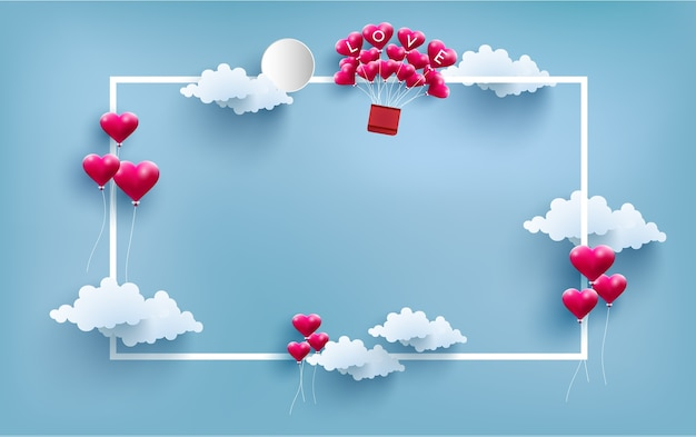 Ballons und heißluftballons mit rahmen