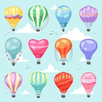 Ballonvektorkarikaturluftballon oder -luftfahrzeug mit korbfliegen im himmel und im ballon aufsteigen des abenteuerflugillustrationssatzes des ballonisierten reisenden fliegens
