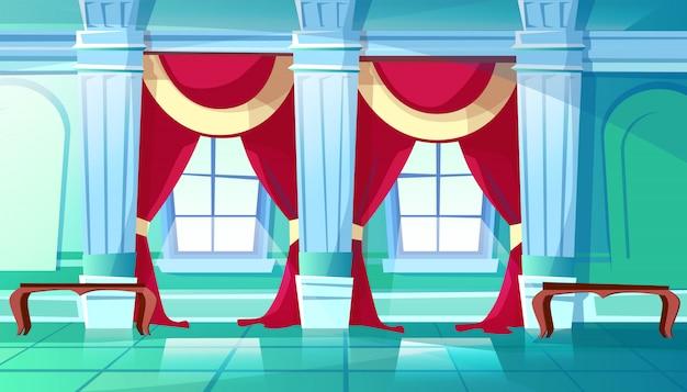 Ballsaal der palasthallenillustration des mittelalterlichen schlossinnenraums des königlichen tanzenraumes.