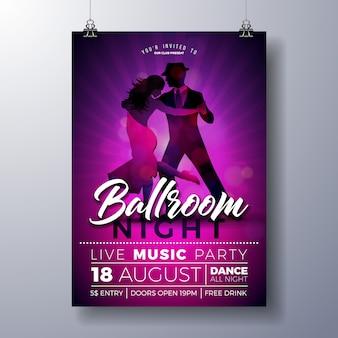 Ballsaal-nachtpartei-fliegerillustration mit paartanzen-tango auf purpurrotem hintergrund.