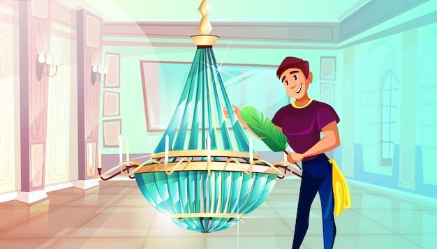 Ballsaal-reinigungsillustration des mannes großen kristallleuchter mit federstaubtuch abwischend.