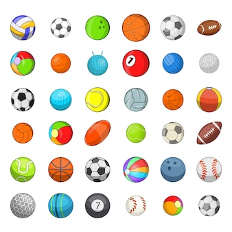 Ballsport-elementsatz. karikatursatz ball trägt vektorelemente zur schau