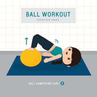 Balltraining. frau, die stabilitätsballübung und yogatraining im fitnessstudio zu hause macht, bleibt zu hause konzept. charakter cartoon illustration