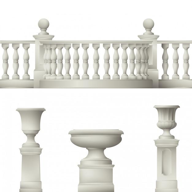 Balustrade, dekorative vase, satz landschaftselemente