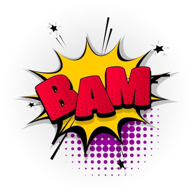 Bam boom bang sound comic-texteffekte vorlage comics sprechblase halbton pop-art-stil