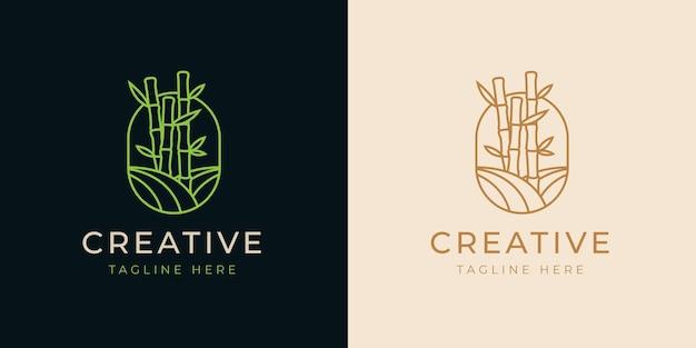 Bambus bäume linie logo design-vorlage
