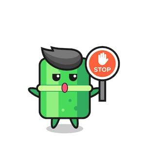 Bambus-charakter-illustration mit einem stoppschild, süßes design für t-shirt, aufkleber, logo-element