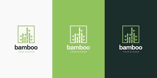 Bambus in quadratischer logo-entwurfsschablone