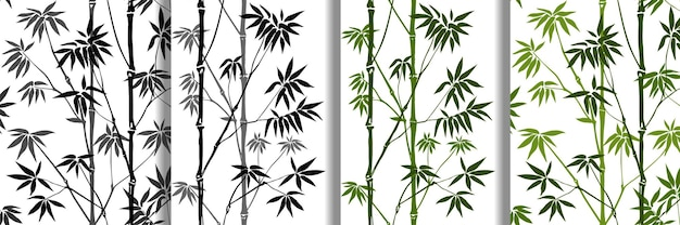Bambus nahtlose muster set tropische tapeten natur textildrucke kollektion