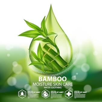 Bambus realistische pflanzenhautpflege kosmetik Premium Vektoren
