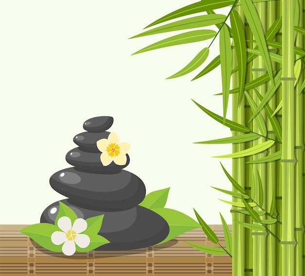 Bambus und steine