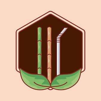 Bambus und stroh im rahmen mit blättern