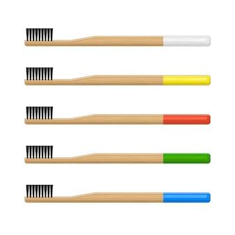 Bambus zahnbürste set auf weiß Premium Vektoren