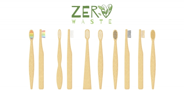 Bambus zahnbürstenpflege mit verschiedenen arten von borsten.