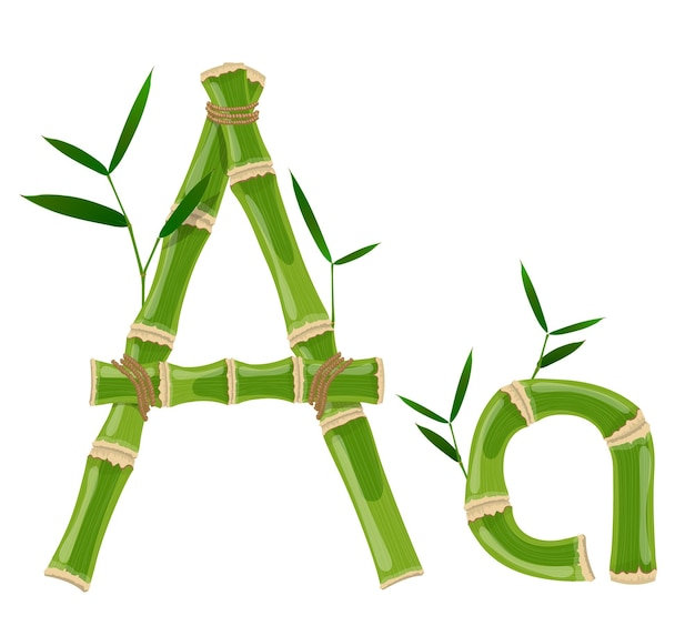 Bambusbrief mit jungen trieben mit blättern, öko-vektorschrift