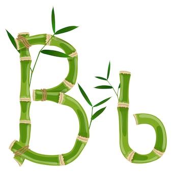 Bambusbuchstabe b mit jungen trieben mit blättern, öko-vektorschrift